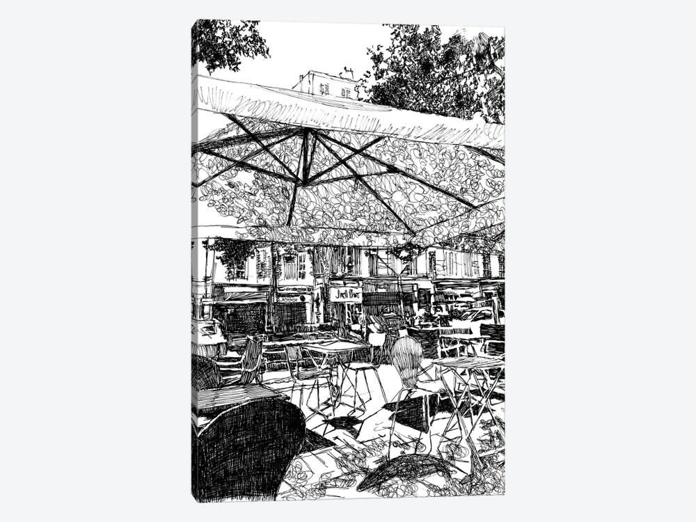 Outdoor Seating At The Café by Suzie-Q 1-piece Canvas Artwork
