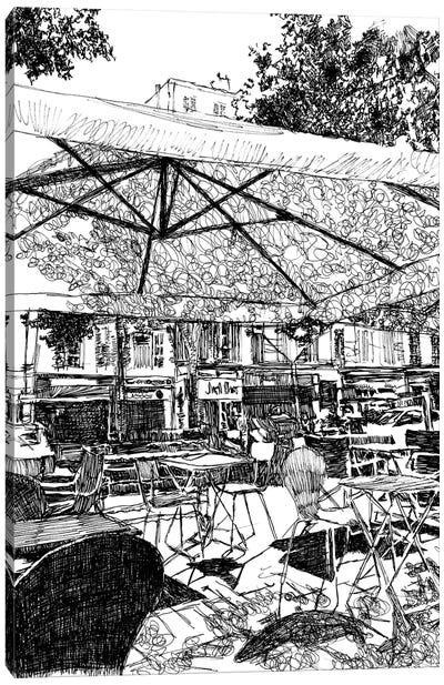 Outdoor Seating At The Café Canvas Art Print