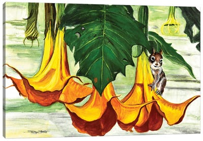 Chippy In The Plants Canvas Art Print