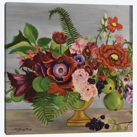 Floral With Berries Canvas Print #SZS10} by SueZan Stutts Canvas Artwork