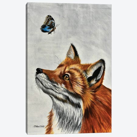 Fox With Butterfly Canvas Print #SZS111} by SueZan Stutts Canvas Wall Art