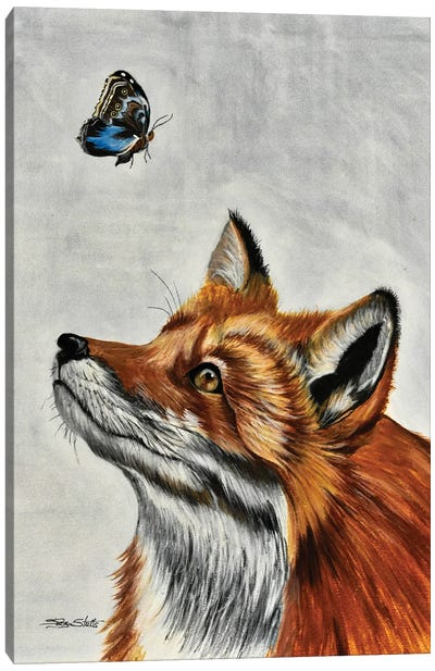 Fox With Butterfly Canvas Art Print