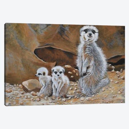 Meerkat Family Canvas Print #SZS22} by SueZan Stutts Canvas Art Print