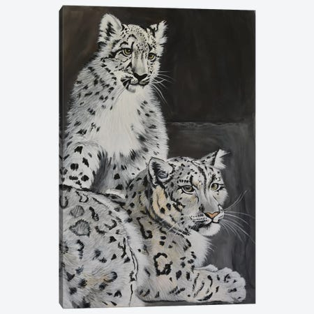 Snow Leopards Canvas Print #SZS38} by SueZan Stutts Canvas Artwork