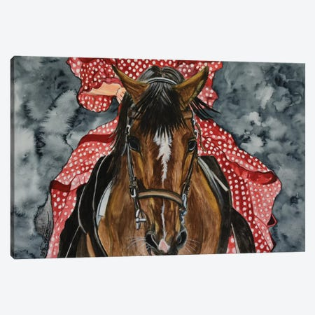 The Red Dress Canvas Print #SZS53} by SueZan Stutts Canvas Artwork