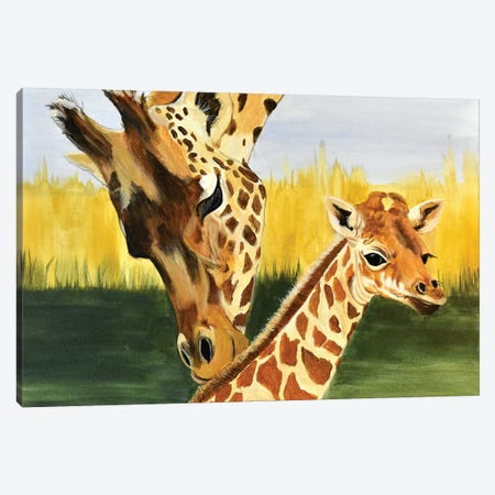 Giraffe with baby Canvas Print #SZS59} by SueZan Stutts Canvas Wall Art