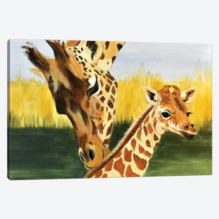 Giraffe with baby Canvas Print #SZS59} by SueZan Stutts Canvas Wall Art