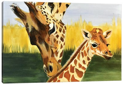 Giraffe with baby Canvas Art Print