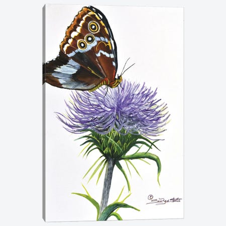 Spiked Flower With Butterfly Canvas Print #SZS78} by SueZan Stutts Canvas Art