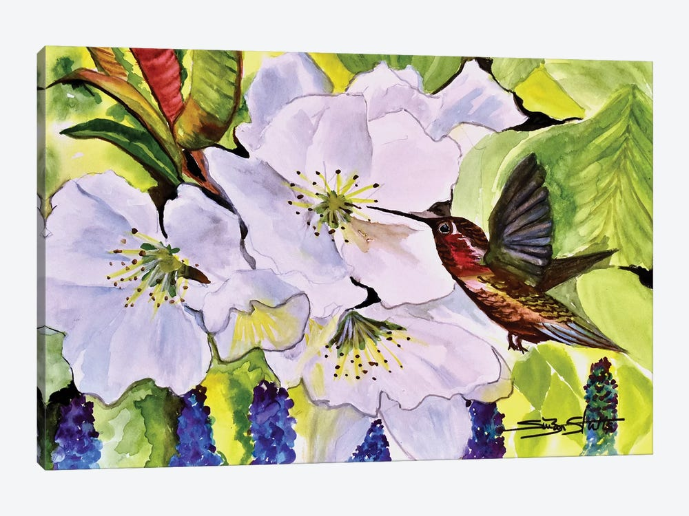 Blossoms With Hummer by SueZan Stutts 1-piece Art Print