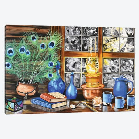 Blue Cups Canvas Print #SZS85} by SueZan Stutts Canvas Artwork