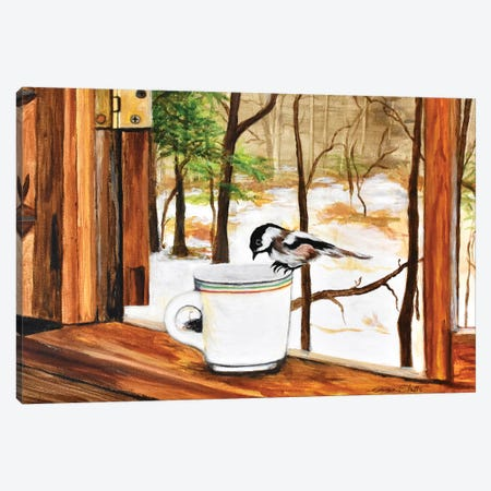 Look Who Dropped In For Coffee Canvas Print #SZS86} by SueZan Stutts Canvas Artwork