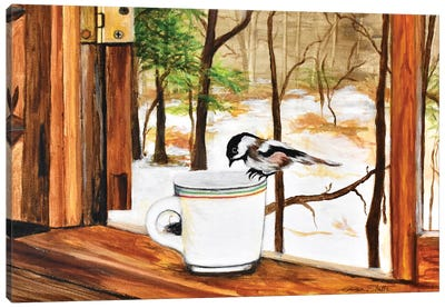 Look Who Dropped In For Coffee Canvas Art Print