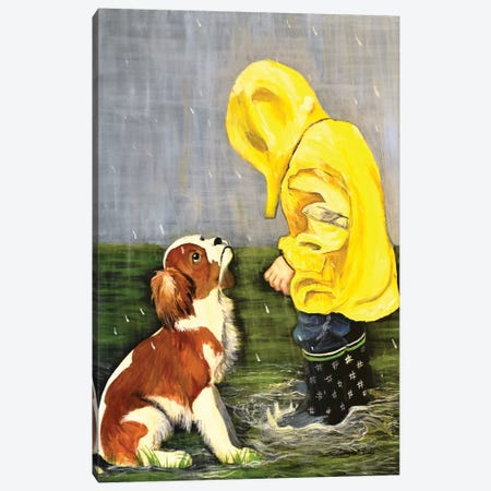 Puppy's And Puddles Canvas Print #SZS90} by SueZan Stutts Canvas Art