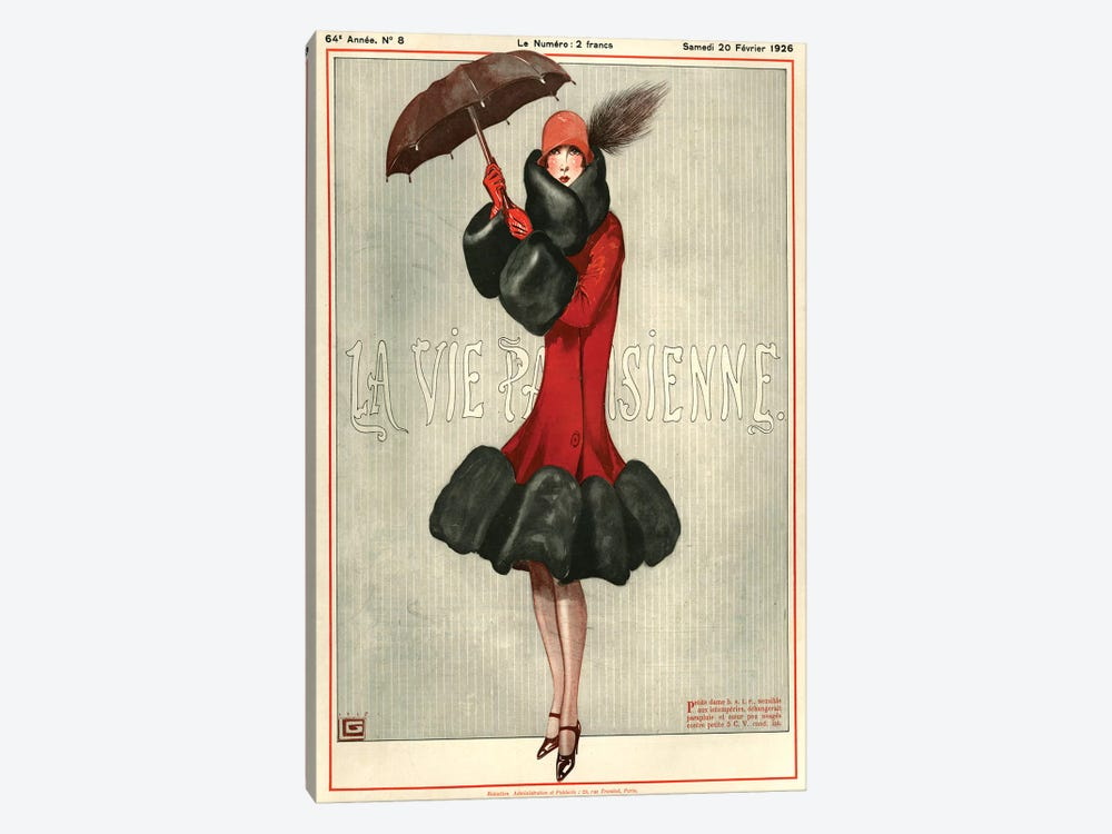 1926 La Vie Parisienne Magazine Cover by Georges Leonnec 1-piece Canvas Artwork