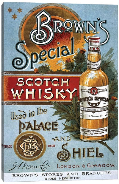 1890s Brown's Special Whisky Advert Canvas Art Print