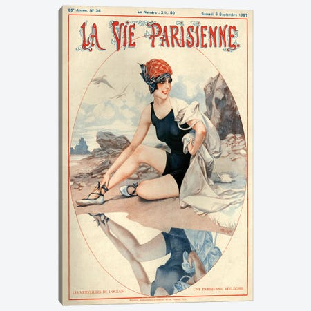 1927 La Vie Parisienne Magazine Cover Canvas Print #TAA204} by Cheri Herouard Canvas Artwork