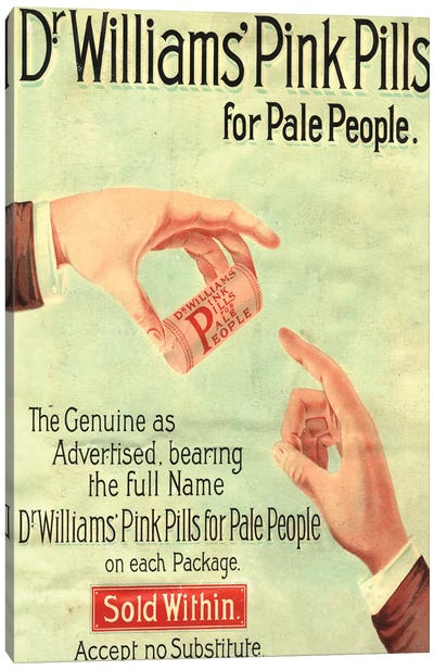 1890s Dr Williams Pink Pills Magazine Advert Canvas Art Print