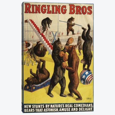 1900s Ringling Bros Circus Poster Canvas Print #TAA216} by The Advertising Archives Art Print