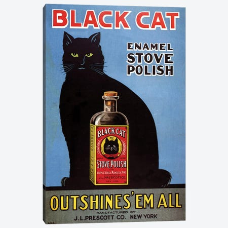 1920s Black Cat Enamel Magazine Advert Canvas Print #TAA225} by The Advertising Archives Canvas Wall Art