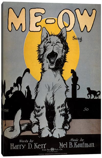 1920s Cats Meow Sheet Music Cover Canvas Art Print