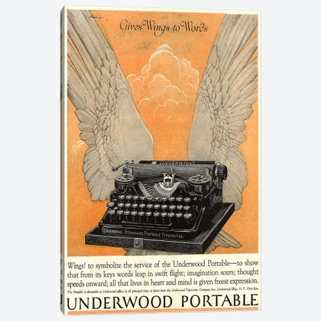 1922 Underwood Typewriter Magazine Advert Canvas Print #TAA244} by The Advertising Archives Canvas Art