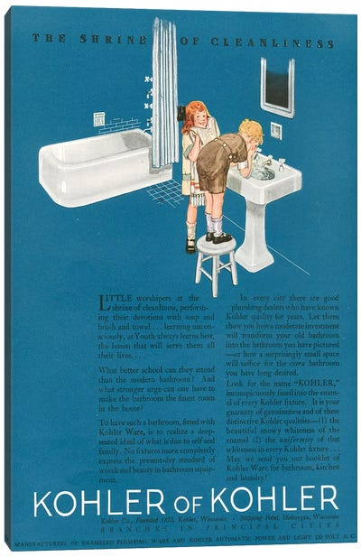 1923 Kohler Magazine Advert Canvas Art Print
