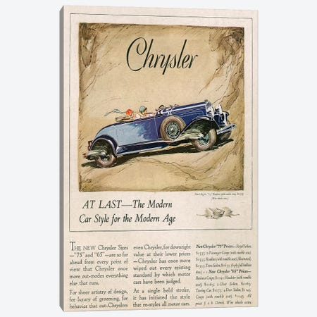 1928 Chrysler Magazine Advert Canvas Print #TAA252} by The Advertising Archives Canvas Artwork