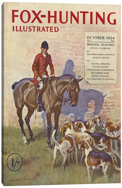 1934 Fox-Hunting Illustrated Magazine Cover Canvas Art Print