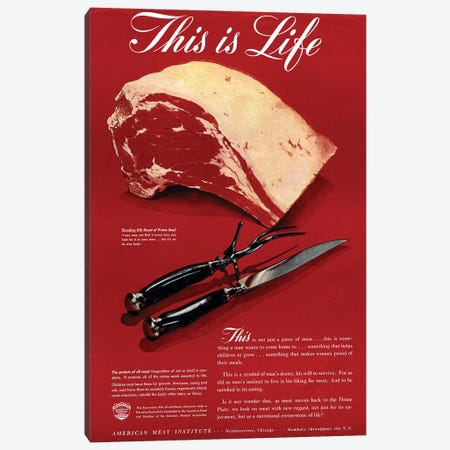 1940s American Meat Institute Beef Magazine Advert Canvas Print #TAA269} by The Advertising Archives Canvas Art Print