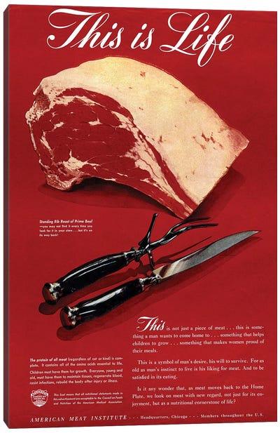 1940s American Meat Institute Beef Magazine Advert Canvas Art Print