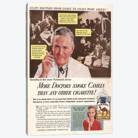 1940s Camel Cigarettes Magazine Advert Canvas Print #TAA270} by The Advertising Archives Canvas Art