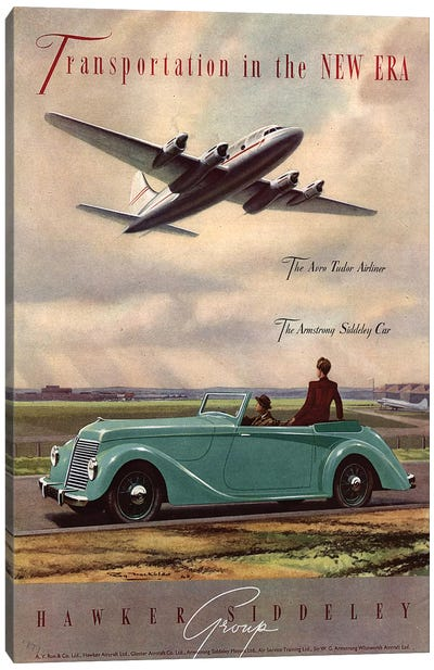 1940s Hawker Siddeley Aviation Cars Magazine Advert Canvas Art Print