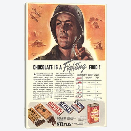 1940s Nestle Chocolate Magazine Advert Canvas Print #TAA272} by The Advertising Archives Canvas Art