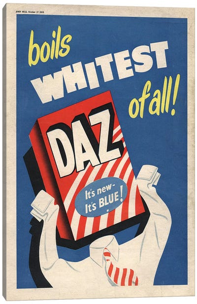 1950s Daz Detergent Magazine Advert Canvas Art Print