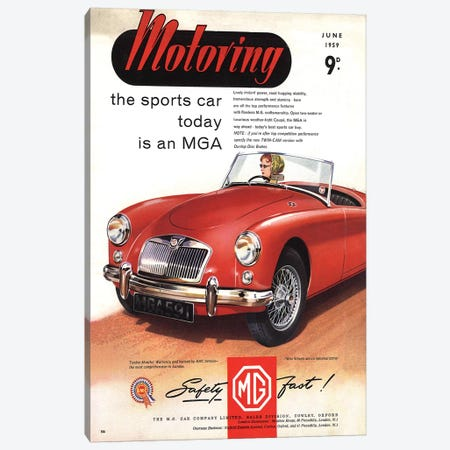 1950s MG Convertible Magazine Advert Canvas Print #TAA276} by The Advertising Archives Art Print