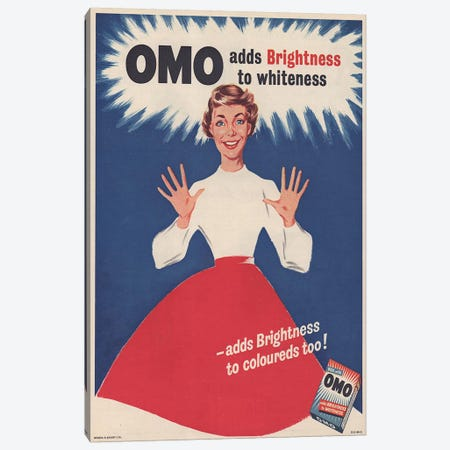 1950s Omo Detergent Magazine Advert Canvas Print #TAA278} by The Advertising Archives Canvas Art
