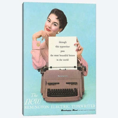 1950s Remington Typewriter Advert Canvas Print #TAA280} by The Advertising Archives Art Print