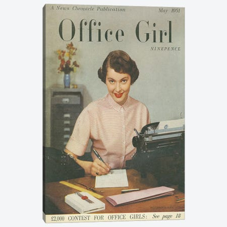 1951 Office Girl Magazine Cover Canvas Print #TAA285} by The Advertising Archives Canvas Art