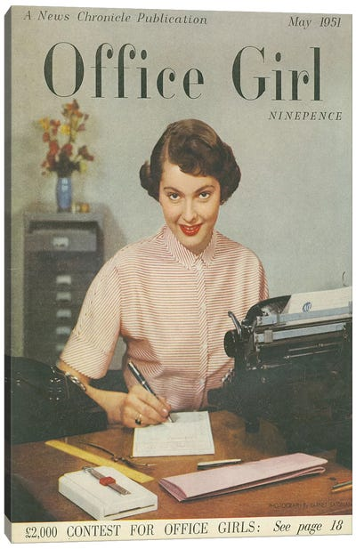 1951 Office Girl Magazine Cover Canvas Art Print