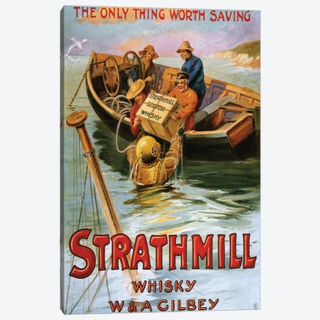 1900s Strathmill Whisky Poster Canvas Print #TAA292} by The Advertising Archives Canvas Wall Art