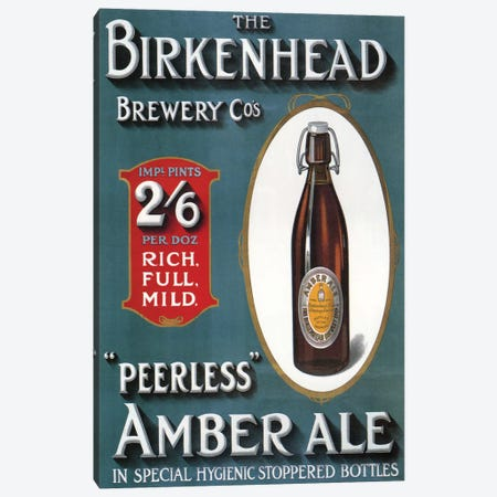 1910s UK Birkenhead Amber Ale Poster 3-Piece Canvas #TAA299} by The Advertising Archives Canvas Artwork