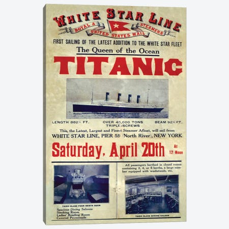1912 UK Titanic Poster Canvas Print #TAA303} by The Advertising Archives Canvas Wall Art