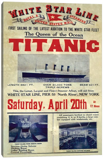 1912 UK Titanic Poster Canvas Art Print