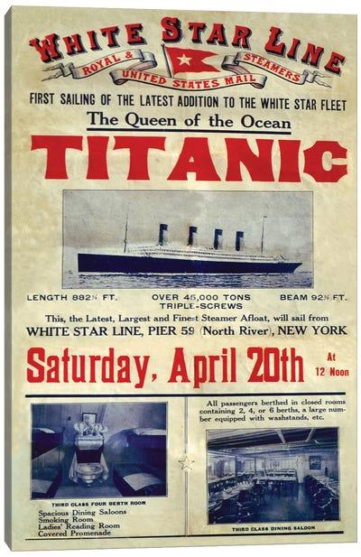 1912 UK Titanic Poster Canvas Art Print