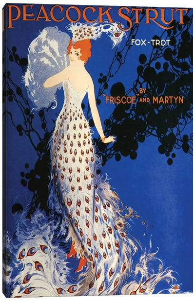 1917 Peacock Strut Sheet Music Cover Canvas Art Print