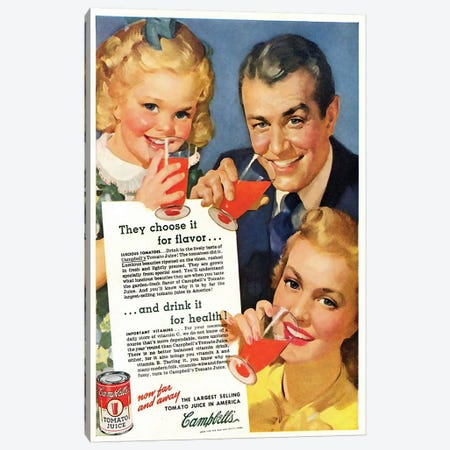1920s Campbell's Tomato Juice Magazine Advert Canvas Print #TAA318} by The Advertising Archives Canvas Print