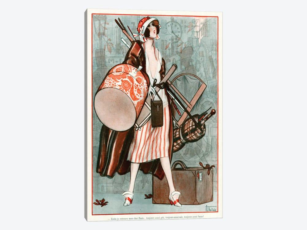1920s La Vie Parisienne Magazine Plate by Armand Vallee 1-piece Canvas Print