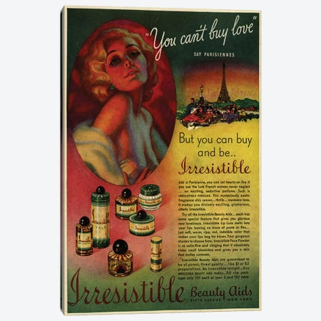1930s Irresistible Perfume Magazine Advert Canvas Print #TAA378} by The Advertising Archives Canvas Art Print
