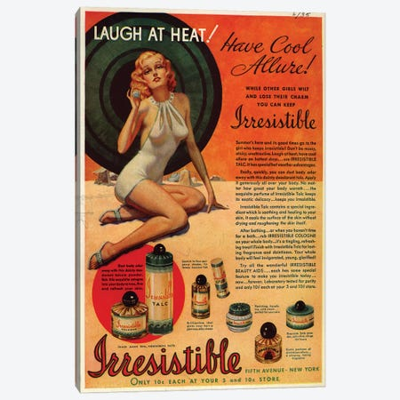 1930s Irresistible Perfume Magazine Advert Canvas Print #TAA379} by The Advertising Archives Art Print